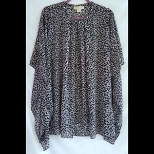 Michael Kors Black White Semi Sheer Shirt Top